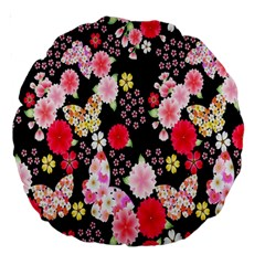 Flower Arrangements Season Rose Butterfly Floral Pink Red Yellow Large 18  Premium Round Cushions by Alisyart