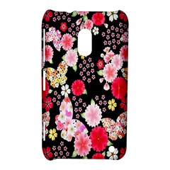 Flower Arrangements Season Rose Butterfly Floral Pink Red Yellow Nokia Lumia 620 by Alisyart