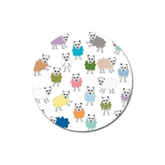 Sheep Cartoon Colorful Magnet 3  (round) by Amaryn4rt