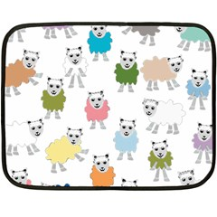 Sheep Cartoon Colorful Fleece Blanket (mini) by Amaryn4rt