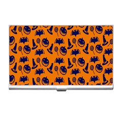 Witch Hat Pumpkin Candy Helloween Blue Orange Business Card Holders