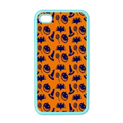 Witch Hat Pumpkin Candy Helloween Blue Orange Apple Iphone 4 Case (color) by Alisyart