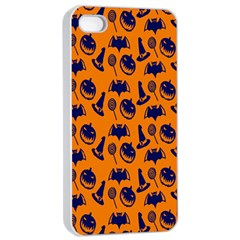 Witch Hat Pumpkin Candy Helloween Blue Orange Apple Iphone 4/4s Seamless Case (white) by Alisyart