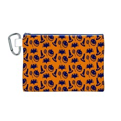Witch Hat Pumpkin Candy Helloween Blue Orange Canvas Cosmetic Bag (m) by Alisyart
