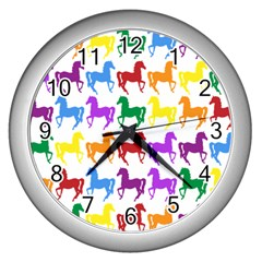Colorful Horse Background Wallpaper Wall Clocks (silver)  by Amaryn4rt