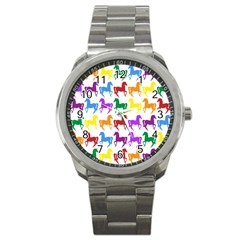 Colorful Horse Background Wallpaper Sport Metal Watch by Amaryn4rt