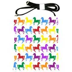 Colorful Horse Background Wallpaper Shoulder Sling Bags by Amaryn4rt