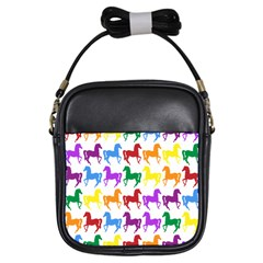 Colorful Horse Background Wallpaper Girls Sling Bags by Amaryn4rt