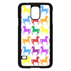 Colorful Horse Background Wallpaper Samsung Galaxy S5 Case (black) by Amaryn4rt