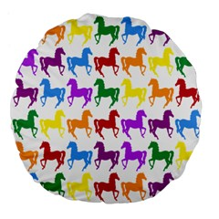 Colorful Horse Background Wallpaper Large 18  Premium Flano Round Cushions by Amaryn4rt
