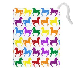 Colorful Horse Background Wallpaper Drawstring Pouches (xxl) by Amaryn4rt