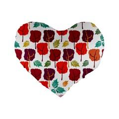 Tree Pattern Background Standard 16  Premium Flano Heart Shape Cushions by Amaryn4rt