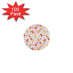 Animal Pattern Happy Birds Seamless Pattern 1  Mini Buttons (100 pack)