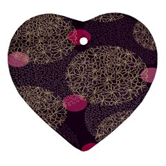 Twig Surface Design Purple Pink Gold Circle Heart Ornament (two Sides) by Alisyart