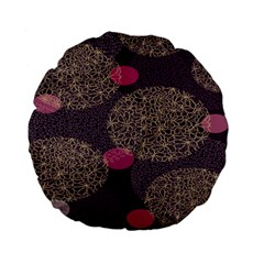 Twig Surface Design Purple Pink Gold Circle Standard 15  Premium Flano Round Cushions by Alisyart