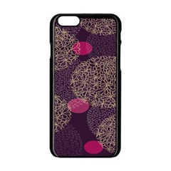 Twig Surface Design Purple Pink Gold Circle Apple Iphone 6/6s Black Enamel Case by Alisyart