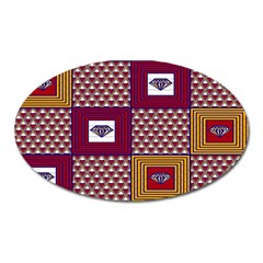 African Fabric Diamon Chevron Yellow Pink Purple Plaid Oval Magnet by Alisyart