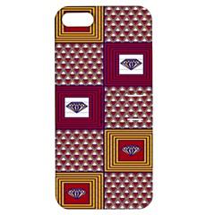African Fabric Diamon Chevron Yellow Pink Purple Plaid Apple Iphone 5 Hardshell Case With Stand by Alisyart