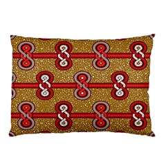 African Fabric Iron Chains Red Purple Pink Pillow Case by Alisyart