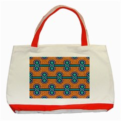 African Fabric Iron Chains Blue Orange Classic Tote Bag (red) by Alisyart