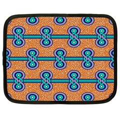 African Fabric Iron Chains Blue Orange Netbook Case (xl)  by Alisyart