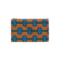 African Fabric Iron Chains Blue Orange Cosmetic Bag (small)  by Alisyart