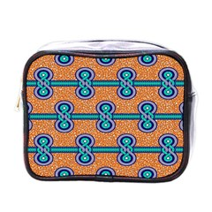 African Fabric Iron Chains Blue Orange Mini Toiletries Bags by Alisyart