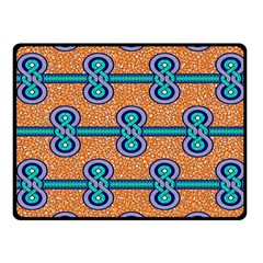African Fabric Iron Chains Blue Orange Fleece Blanket (small) by Alisyart