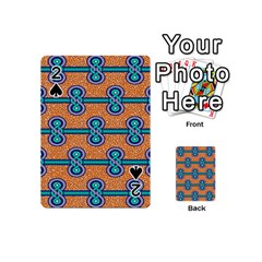African Fabric Iron Chains Blue Orange Playing Cards 54 (mini)  by Alisyart