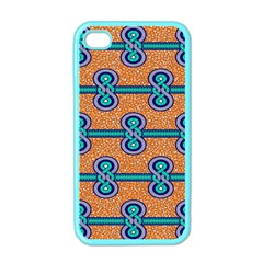 African Fabric Iron Chains Blue Orange Apple Iphone 4 Case (color)