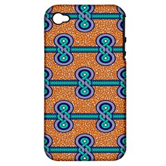 African Fabric Iron Chains Blue Orange Apple Iphone 4/4s Hardshell Case (pc+silicone) by Alisyart