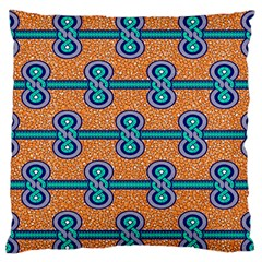 African Fabric Iron Chains Blue Orange Large Flano Cushion Case (two Sides) by Alisyart