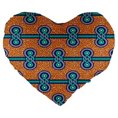 African Fabric Iron Chains Blue Orange Large 19  Premium Flano Heart Shape Cushions by Alisyart