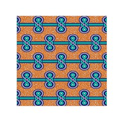 African Fabric Iron Chains Blue Orange Small Satin Scarf (square) by Alisyart