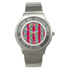 African Fabric Iron Chains Red Yellow Blue Grey Stainless Steel Watch by Alisyart