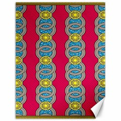 African Fabric Iron Chains Red Yellow Blue Grey Canvas 12  X 16   by Alisyart
