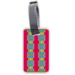 African Fabric Iron Chains Red Yellow Blue Grey Luggage Tags (two Sides) by Alisyart
