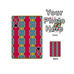 African Fabric Iron Chains Red Yellow Blue Grey Playing Cards 54 (mini)  by Alisyart