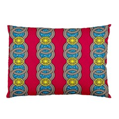 African Fabric Iron Chains Red Yellow Blue Grey Pillow Case (two Sides) by Alisyart