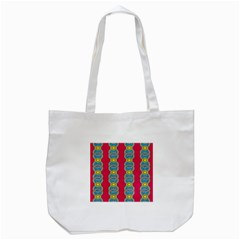 African Fabric Iron Chains Red Yellow Blue Grey Tote Bag (white) by Alisyart