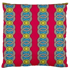 African Fabric Iron Chains Red Yellow Blue Grey Large Flano Cushion Case (two Sides) by Alisyart