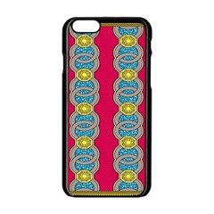 African Fabric Iron Chains Red Yellow Blue Grey Apple Iphone 6/6s Black Enamel Case by Alisyart