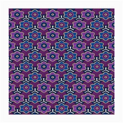 African Fabric Flower Purple Medium Glasses Cloth