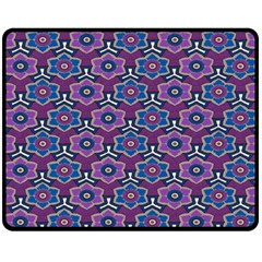 African Fabric Flower Purple Fleece Blanket (medium)  by Alisyart