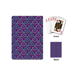 African Fabric Flower Purple Playing Cards (mini)  by Alisyart