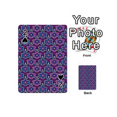 African Fabric Flower Purple Playing Cards 54 (Mini)  by Alisyart