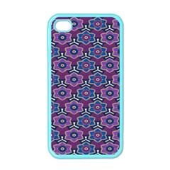African Fabric Flower Purple Apple Iphone 4 Case (color)