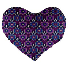 African Fabric Flower Purple Large 19  Premium Flano Heart Shape Cushions by Alisyart