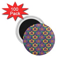 African Fabric Flower Green Purple 1 75  Magnets (100 Pack)  by Alisyart
