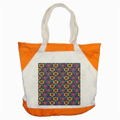 African Fabric Flower Green Purple Accent Tote Bag by Alisyart